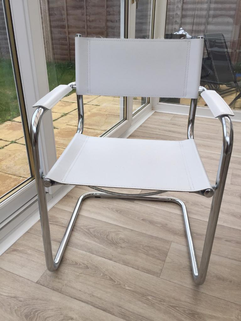 4 X John Lewis White Leather Directors Chairs