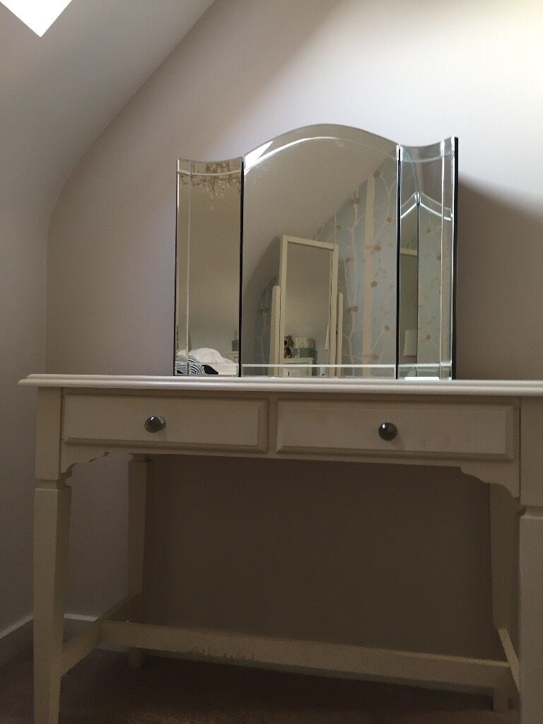 Next Cream Dressing Table And Tri Fold Mirror