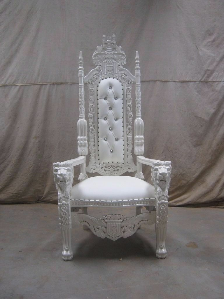 2 New White Lion King Throne Chair Wedding Events Luxury Ornate Carved  Furniture Italian Throne