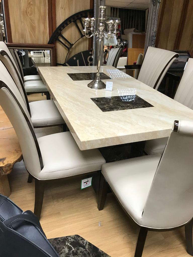 Superb Menella Marble Dining Table With 4 Alpine Chairs