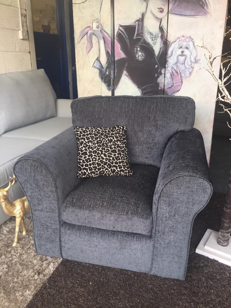 New Nala Fabric Compact Armchair In Charcoal Grey