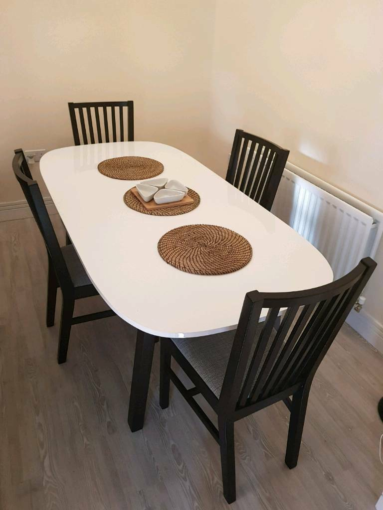 Ikea OPPEBY White Gloss Dining Table With 4 NORRNAS Chairs Part 64