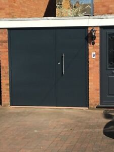 Anthracite Grey Ral 7016 Designer Side Hinged Garage Door Steel Side Hung  Opener