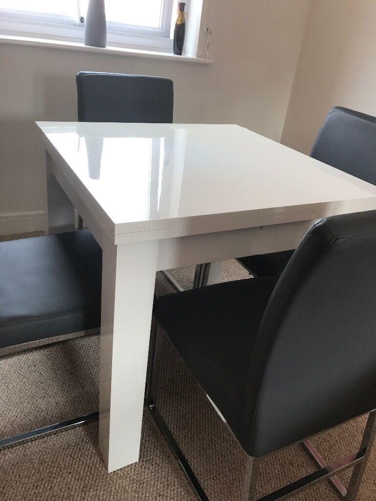 Next White Gloss Extending Dining Table