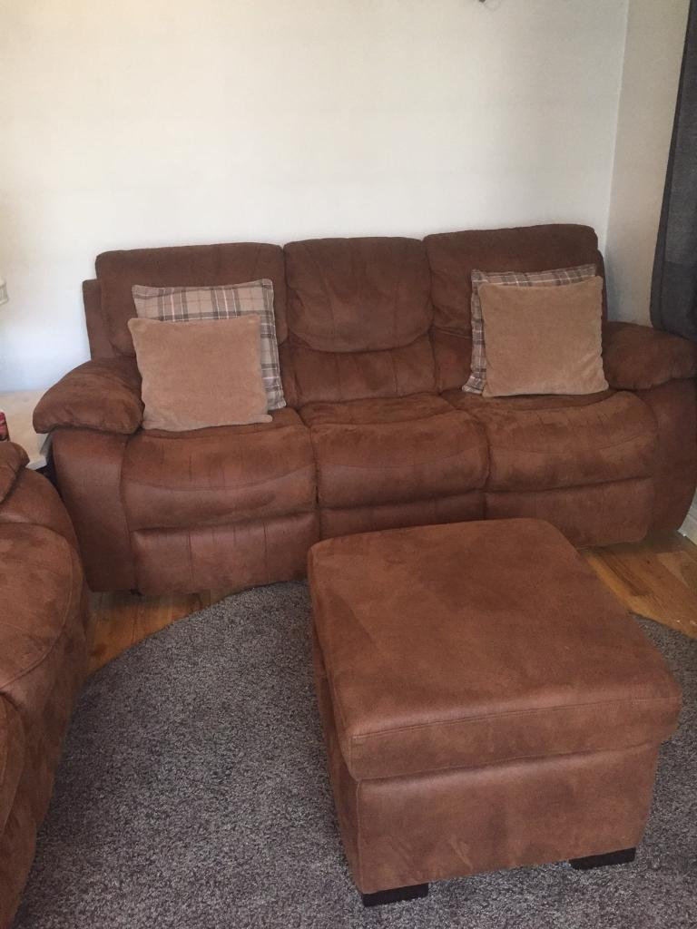 Harveys Furniture Brown Faux Suede Sofa Suite And Storage Foot Stool For  Sale   IMMACULATE