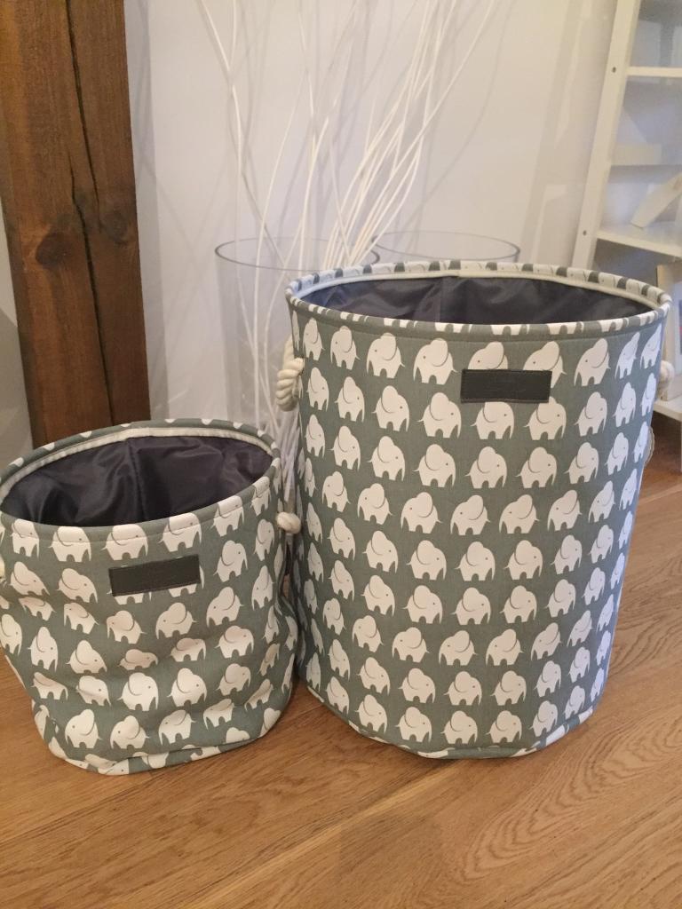 Grey Elephant Canvas Toy Storage Baskets