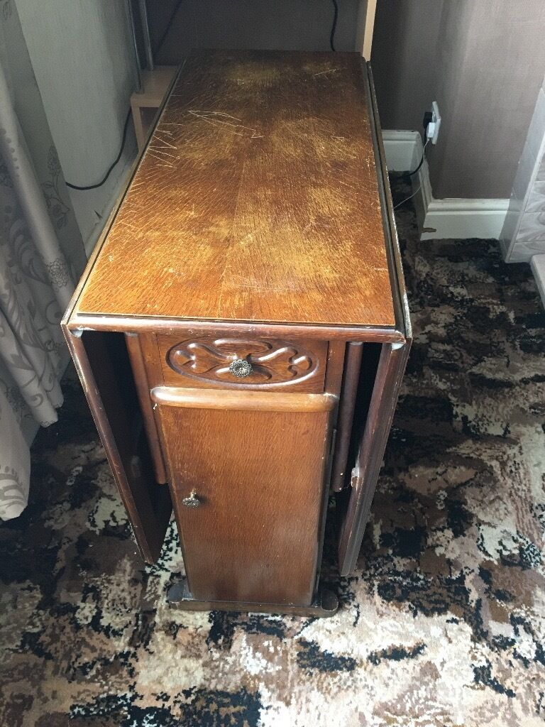 Awesome Antique Dark Wood, Drop Leaf Dining Table With Drawers And Cupboards
