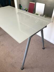 ikea white glass desk used - Drafting Table Ikea