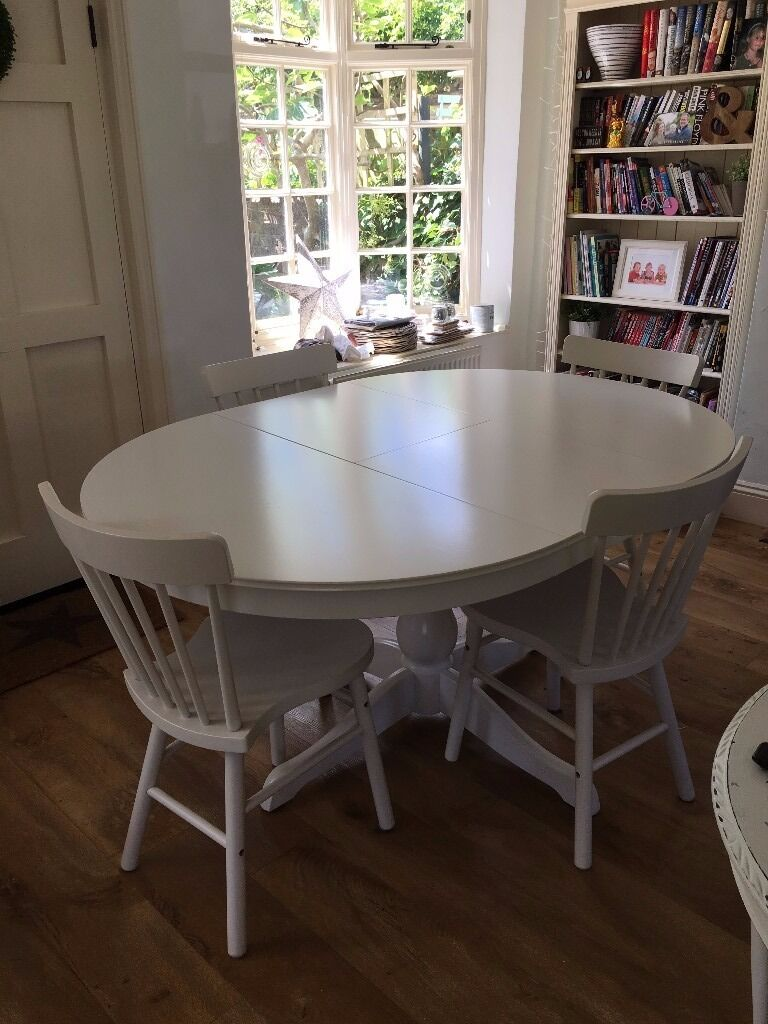SOLD Ikea Ingatorp White Extendable Dining Table U0026 4 X White Norraryd Chairs