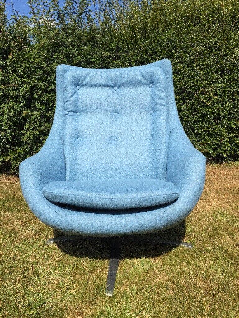 Original 60u0027s /70u0027s Retro Swivel Egg Chair, Reupholstered.
