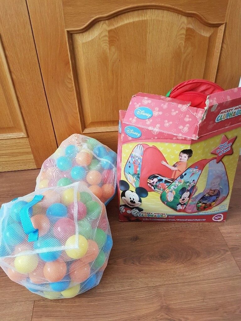 Mickey mouse play tent tunnel and ball pit including two bags of ball pit balls & Mickey mouse play tent tunnel and ball pit including two bags of ...