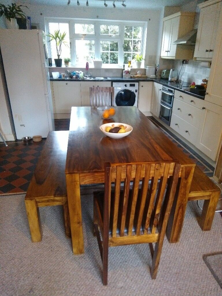 Large Dining Room Table 2 Chairs And 2 Benches Complete Dining