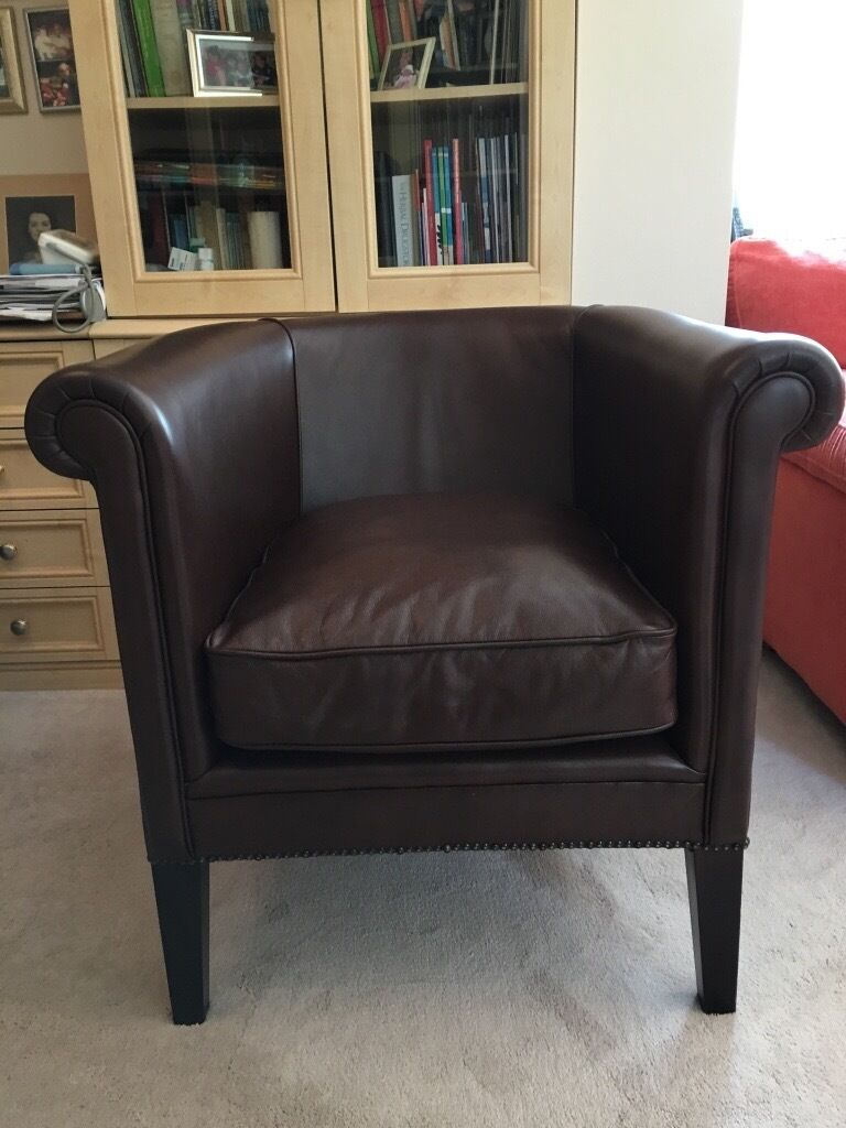 Laura Ashley Osborne Brown Leather Tub Chair. Immaculate condition, rarely  used.