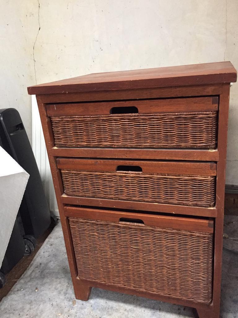Brown Wicker Filing Cabinet
