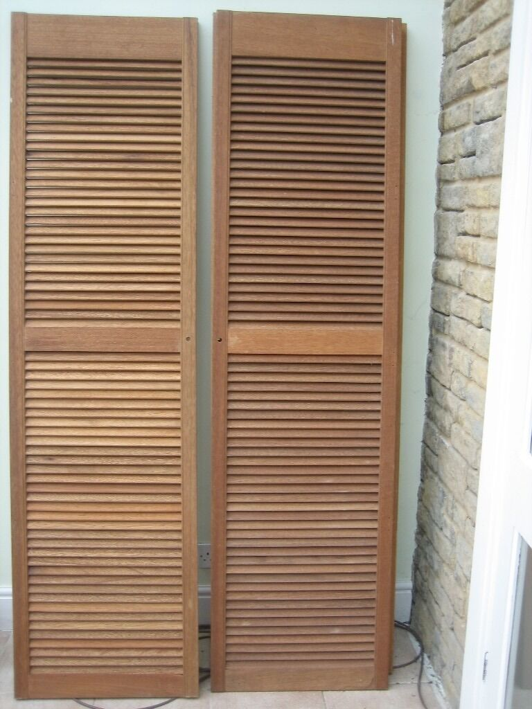 CHEAP PAIR WOOD LOUVRE DOORS DIY Cupboard wardrobe Shutter doors VGC SIZE 78  ... & CHEAP PAIR WOOD LOUVRE DOORS DIY Cupboard wardrobe Shutter doors VGC ...