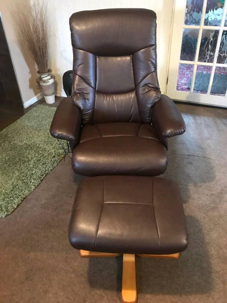 Beau Leather Heat U0026 Massage Swivel Recliner Chair With Stool