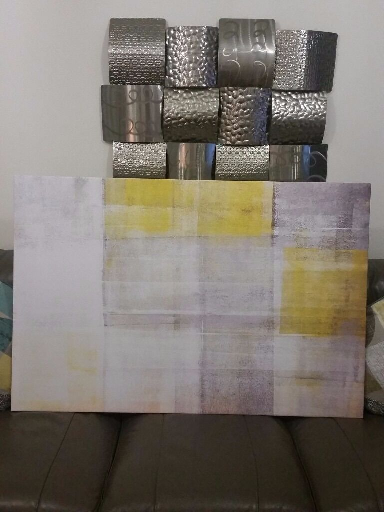 LARGE GREY U0026 YELLOW CANVAS WALL ART PICTURE BRAND NEW U0026 BOXED