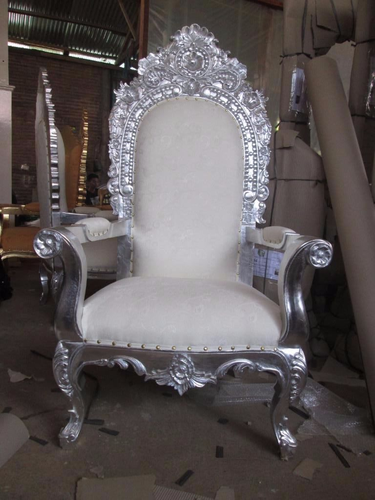 2x NEW King Queen Throne Chairs   Silver Leaf   Asian Wedding Furniture  Ornate Antique Hotel