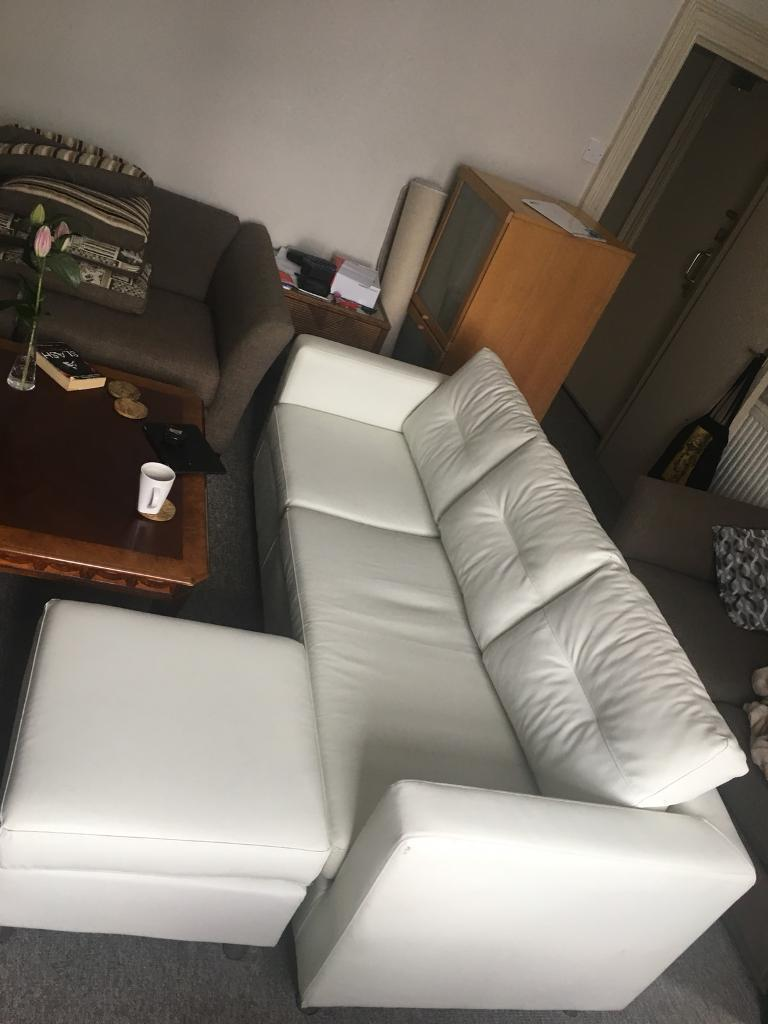 Charmant 3 Seater White Leather Sofa With Footrest