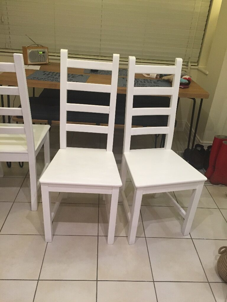 IKEA Kaustby dining chairs painted in white satinwood & IKEA Kaustby dining chairs painted in white satinwood | in Wood ...