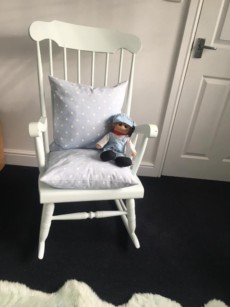 Very Faint Pale Blue Solid Wood Rocking Chair Traditional Nursery Shabby  Chic Farmhouse
