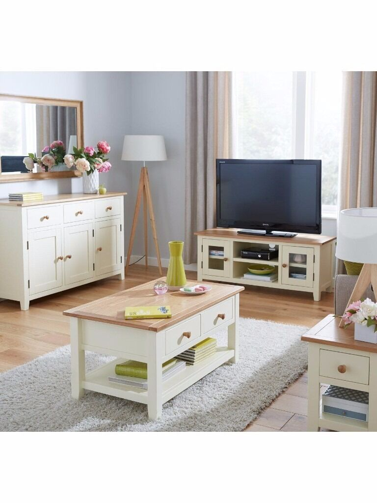 Merveilleux Set Living Room Furniture Large Sideboard / Large Tv Unit / Coffee Table In  Cream/