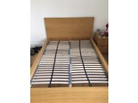 ikea malm double bed frame with slatted bed base