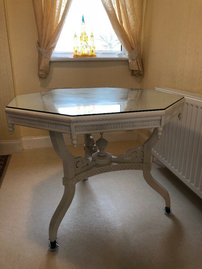 White Hexagonal Shabby Chic Dining Table. Collection Only Amazing Ideas