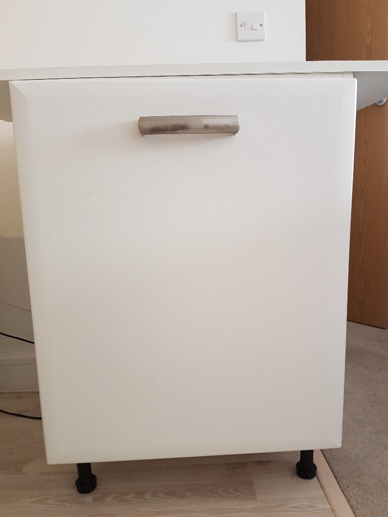 Attractive Under Counter Base Kitchen Cabinet. Symphony White. Unused. 60cm Wide