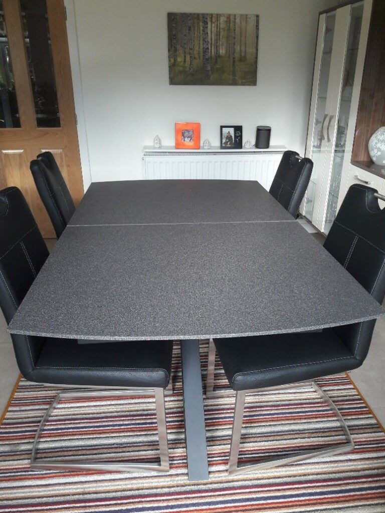 Habufa Stone Finish Glass Extending Table. 4 Chairs. Almost New.