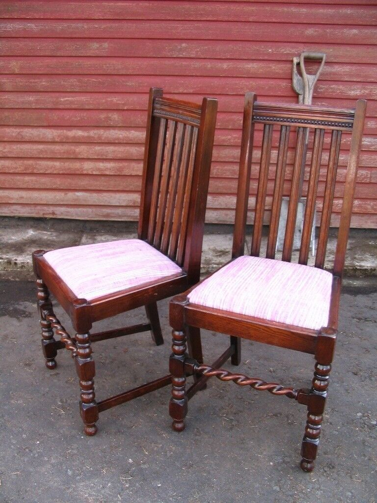 English Oak Dining Chairs C.1920, 2   Pair Of Antique Vintage Chairs,