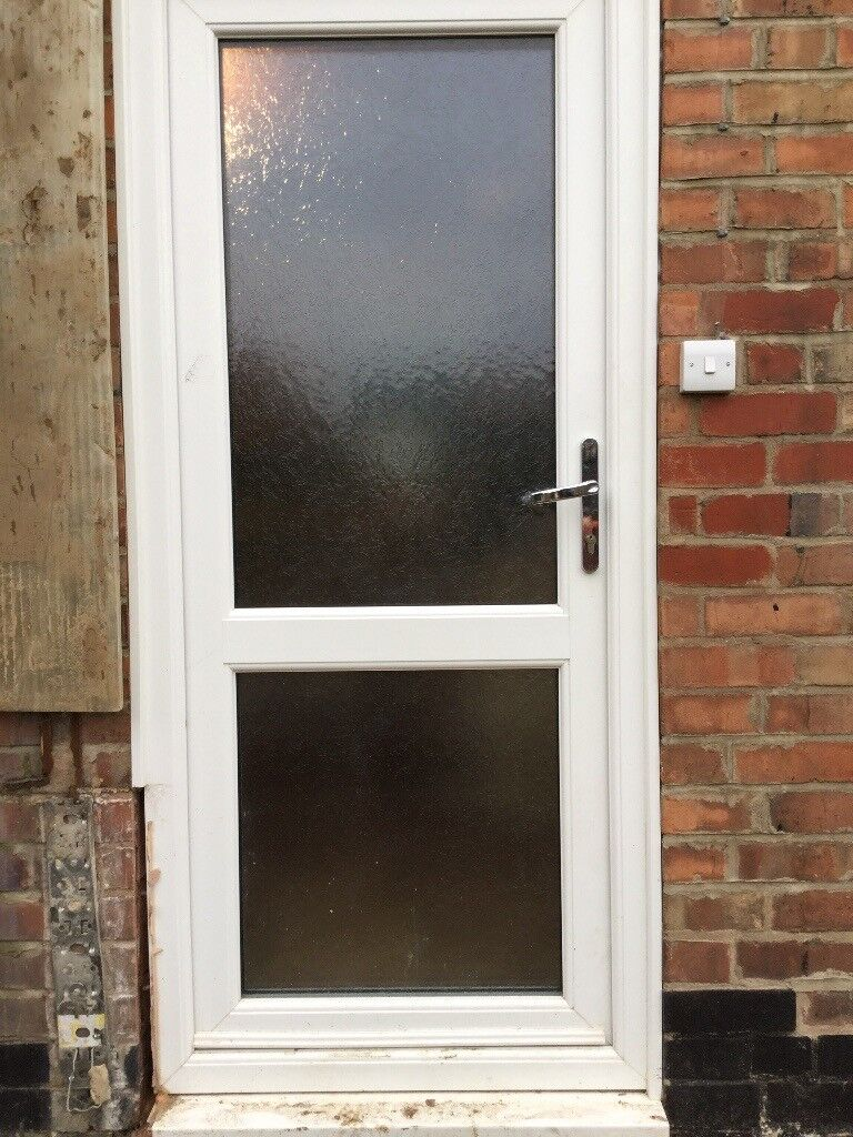 White UPvc Double Glazed Back Door And Frame With Opaque Glass