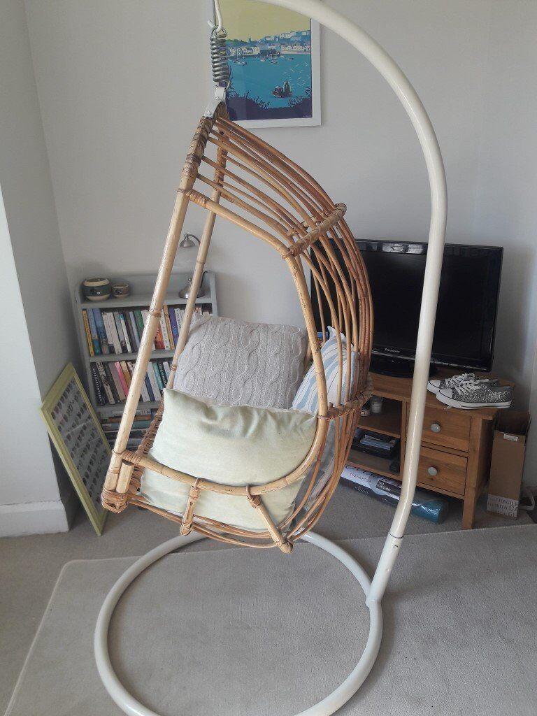 Gorgeous Original Retro Hanging Bamboo Chair On Cream Metal Frame