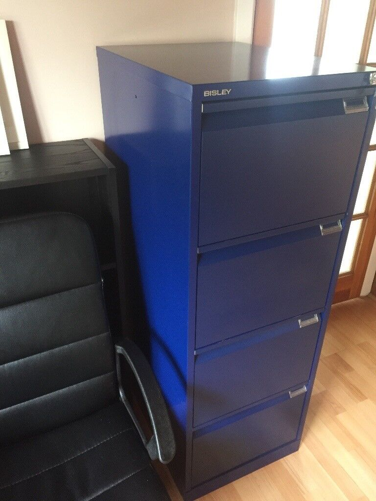 Blue Filing Cabinet With Key.