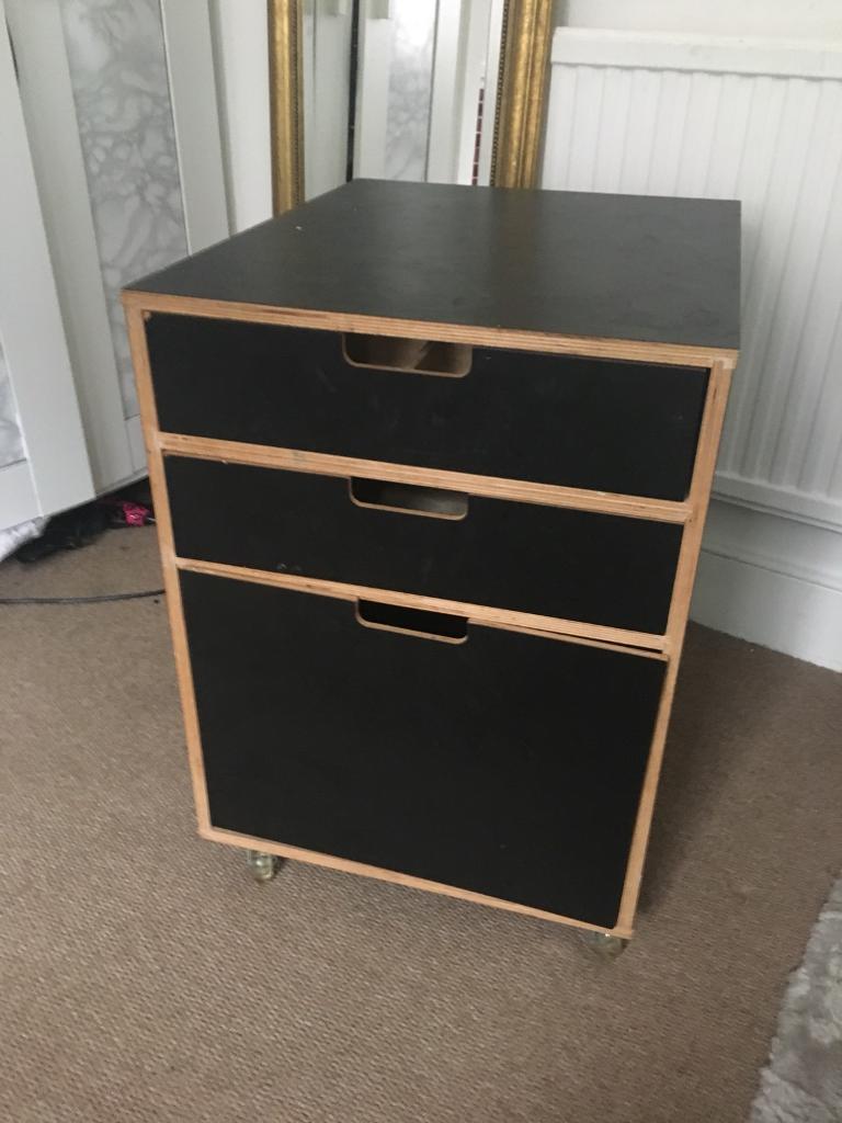 Black Wood File Cabinet. Habitat Black Wooden Filing Cabinet/bedside Table  On Wheels Wood