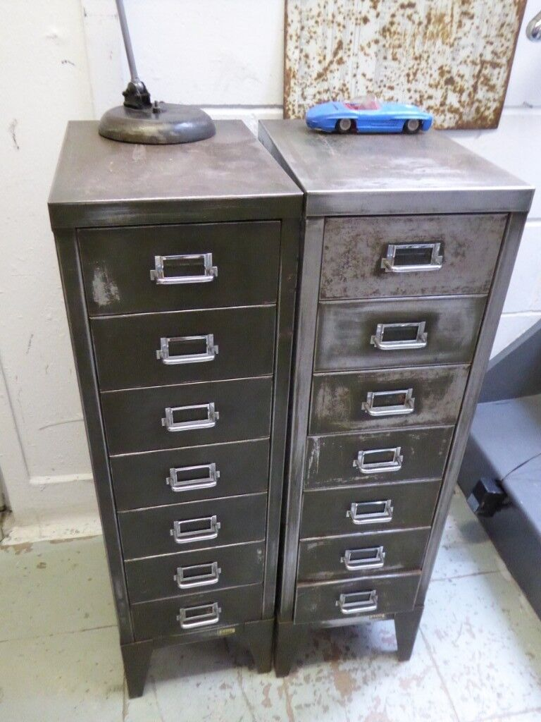 1950s Olive Green Filing Cabinet   Two Available.