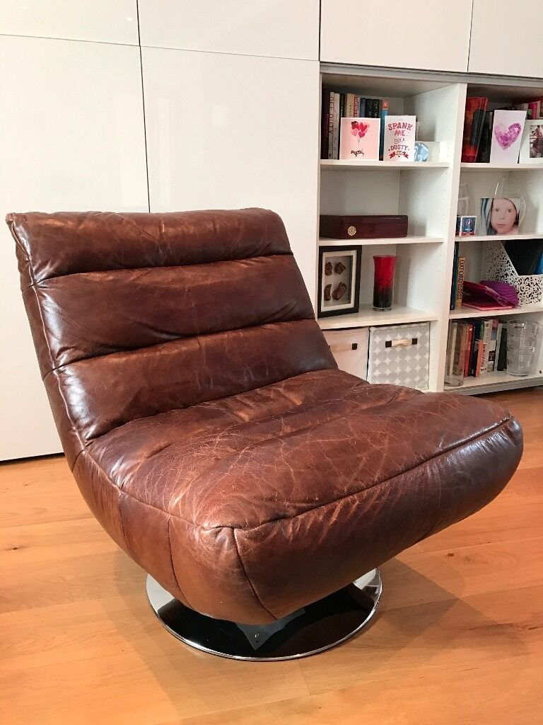 Halo Living Hash Swivel Chair In Brown Leather, RRP £915