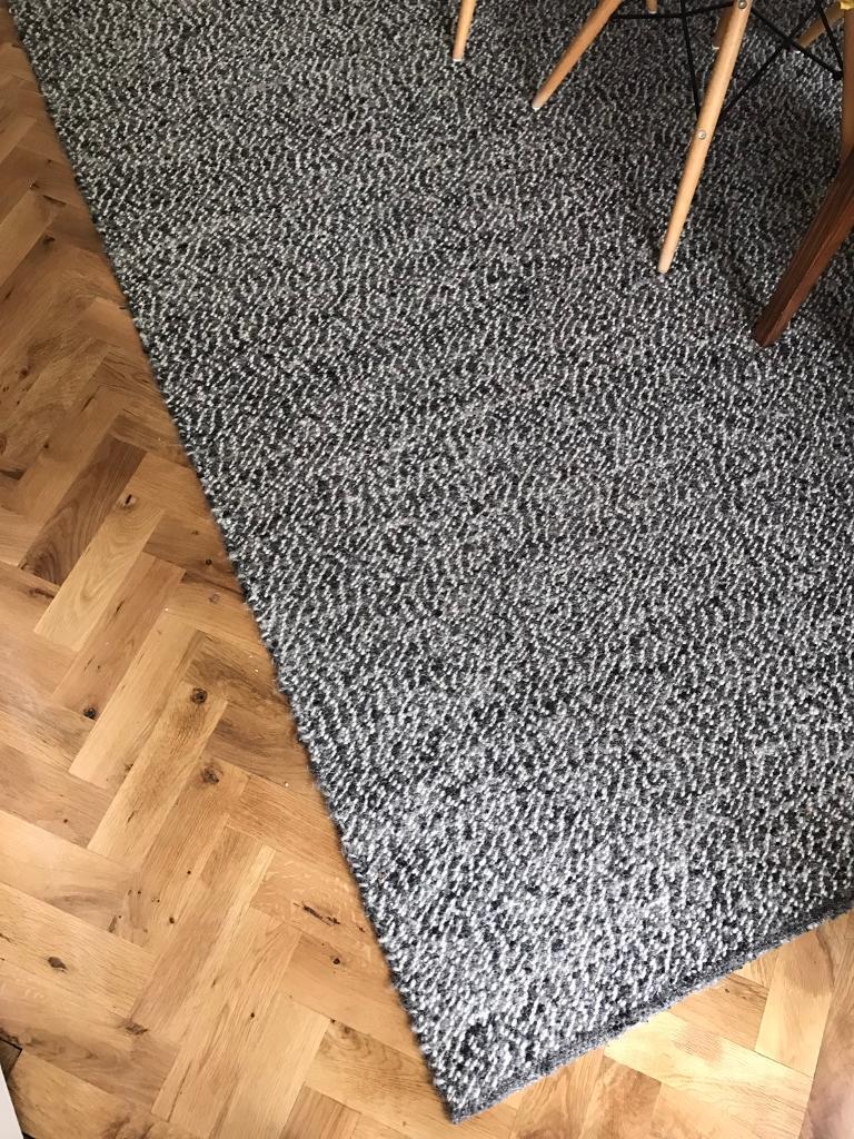 Superior Ikea Basnas Large Wool Rug 300x200cm Grey Black White Carpet