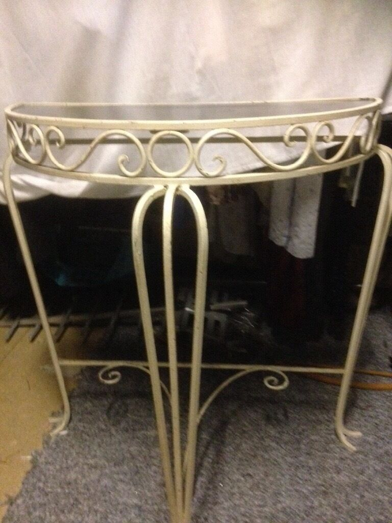 vintage semi circular wrought iron console table with smoked glass top