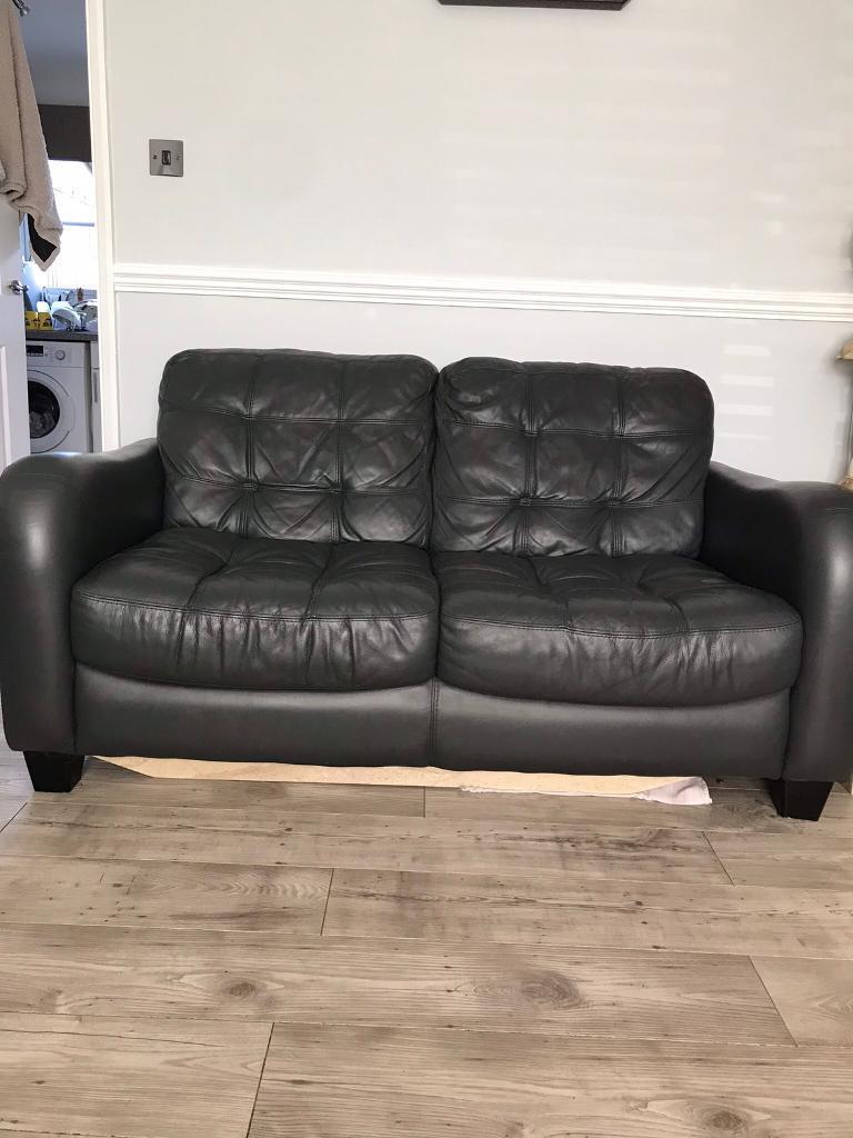 Dark Grey Leather Sofas X2 ****REDUCED****