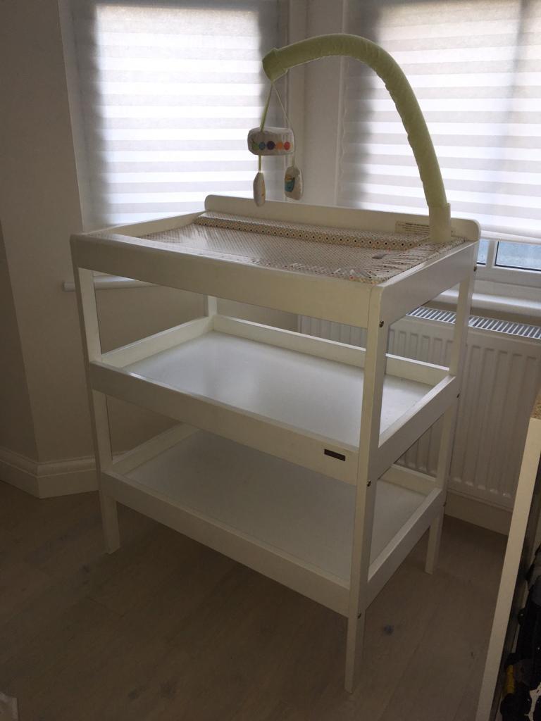 John Lewis White Wooden Baby Changing Table, Mat U0026 Hanging Mobile