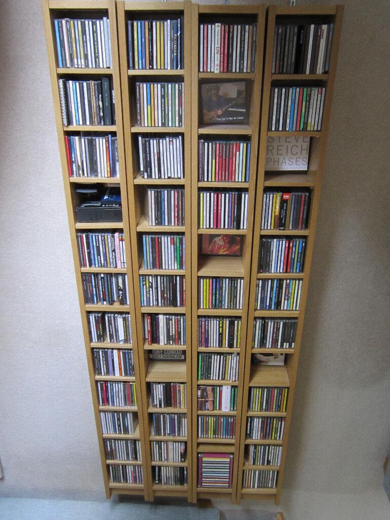 4 X IKEA GNEDBY CD/DVD Shelving Units   Oak Veneer   Variable Shelf Heights