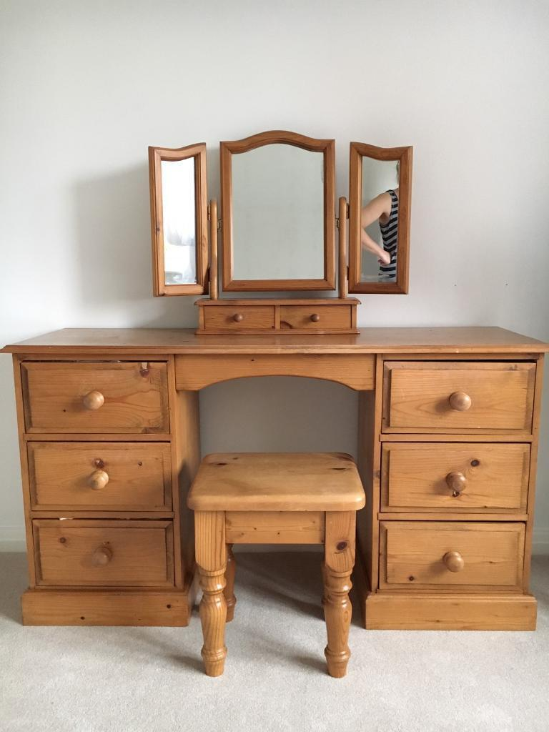 Pine Dressing Table, Mirror And Stool