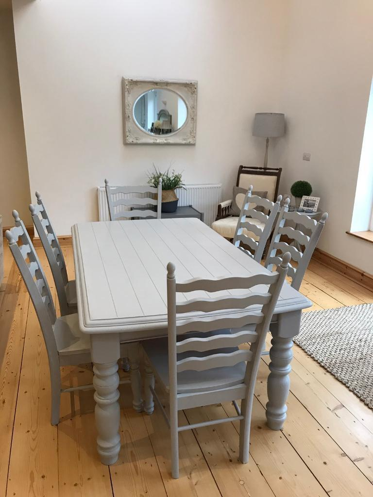 Shabby Chic Grey Painted Table And 6 Chairs