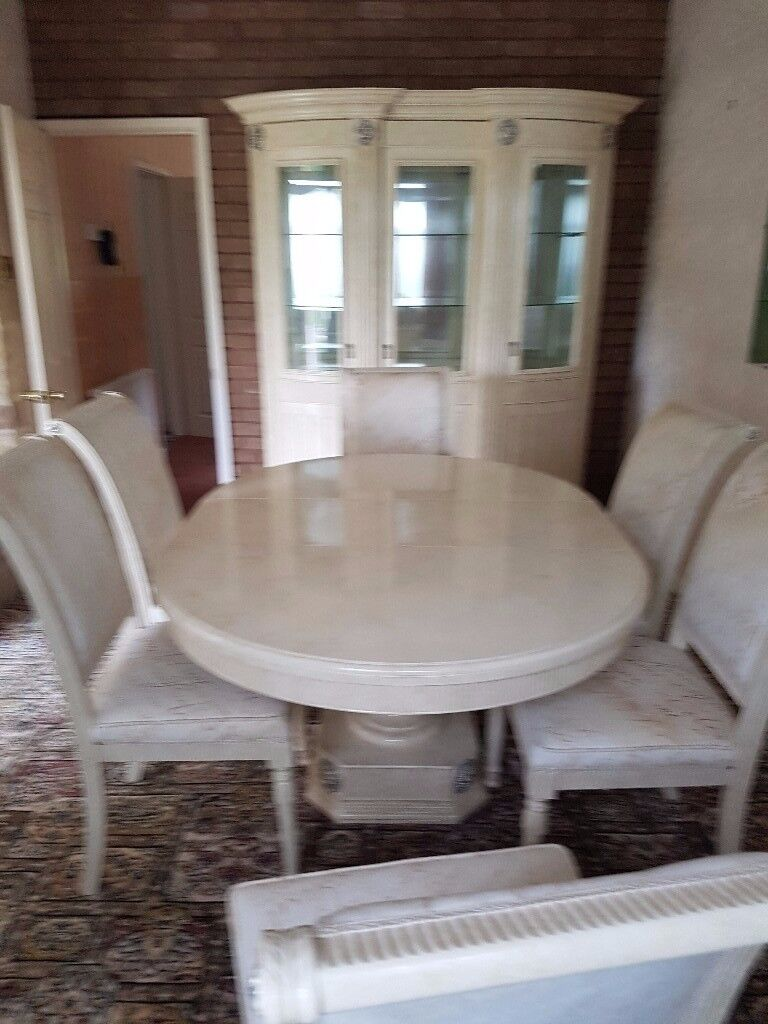 Italian Cream/gold Dining Table, 6 Chairs, 2 Display Cabinets, Coffee Table