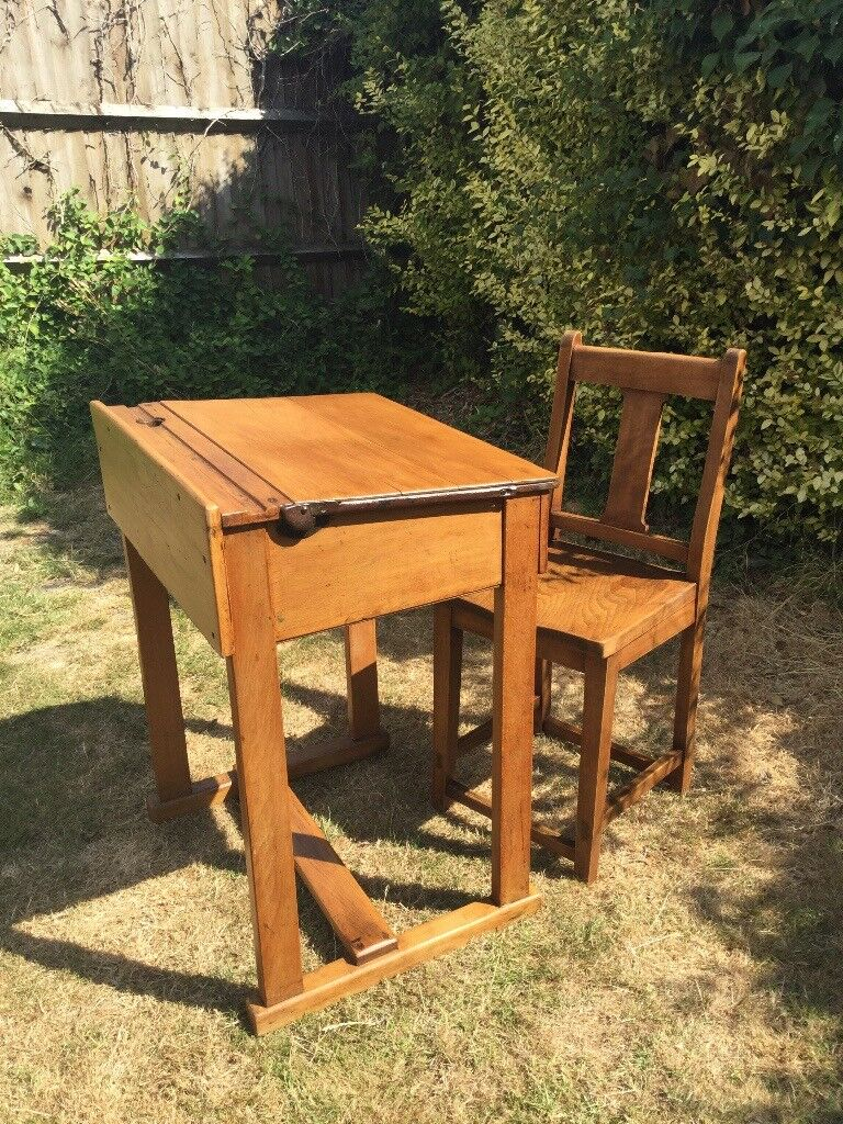 A Stamped English Schools Association School Desk. Also A Glenister No.42 King  George