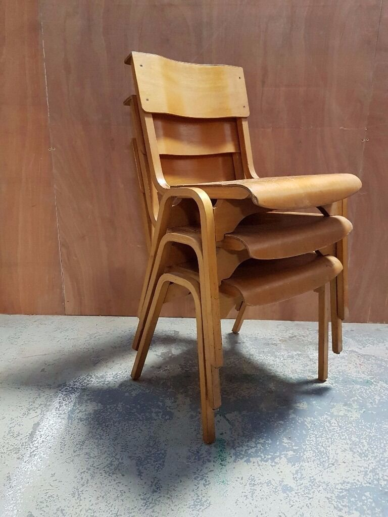 Job Lot Vintage Tecta Industrial School Chairs   Vintage School Restaurant  Cafe Bistro Church