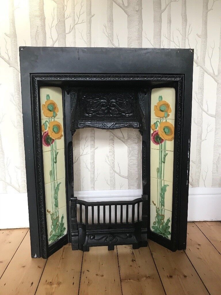 Victorian Style Cast Iron Tiled Fireplace With Backplate
