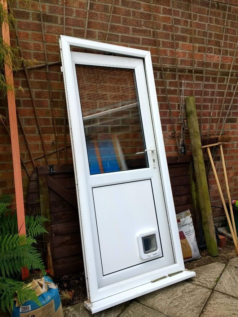 UPVC Back Door With Frame And Cat Flap, One Key