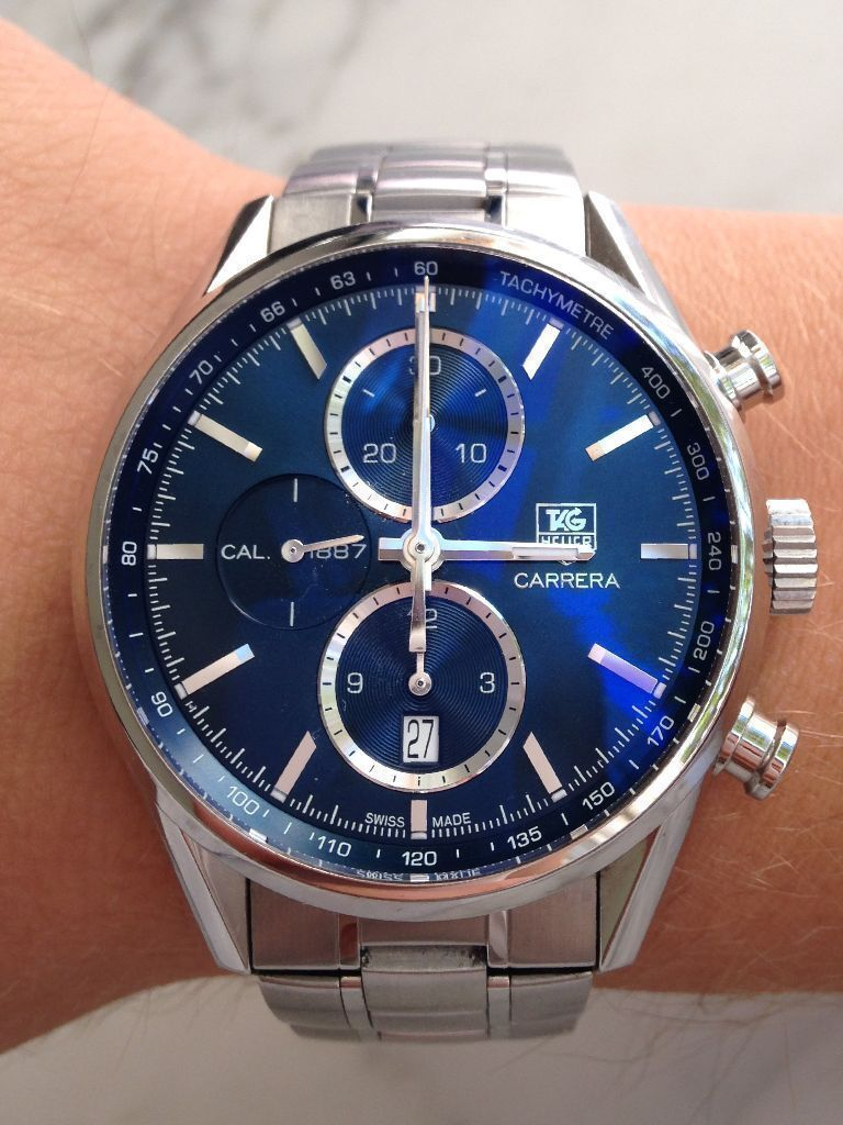 tag heuer carrera watch chronograph steel strap blue dial